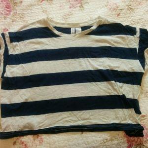 H&M Blue & White Striped Crop Top